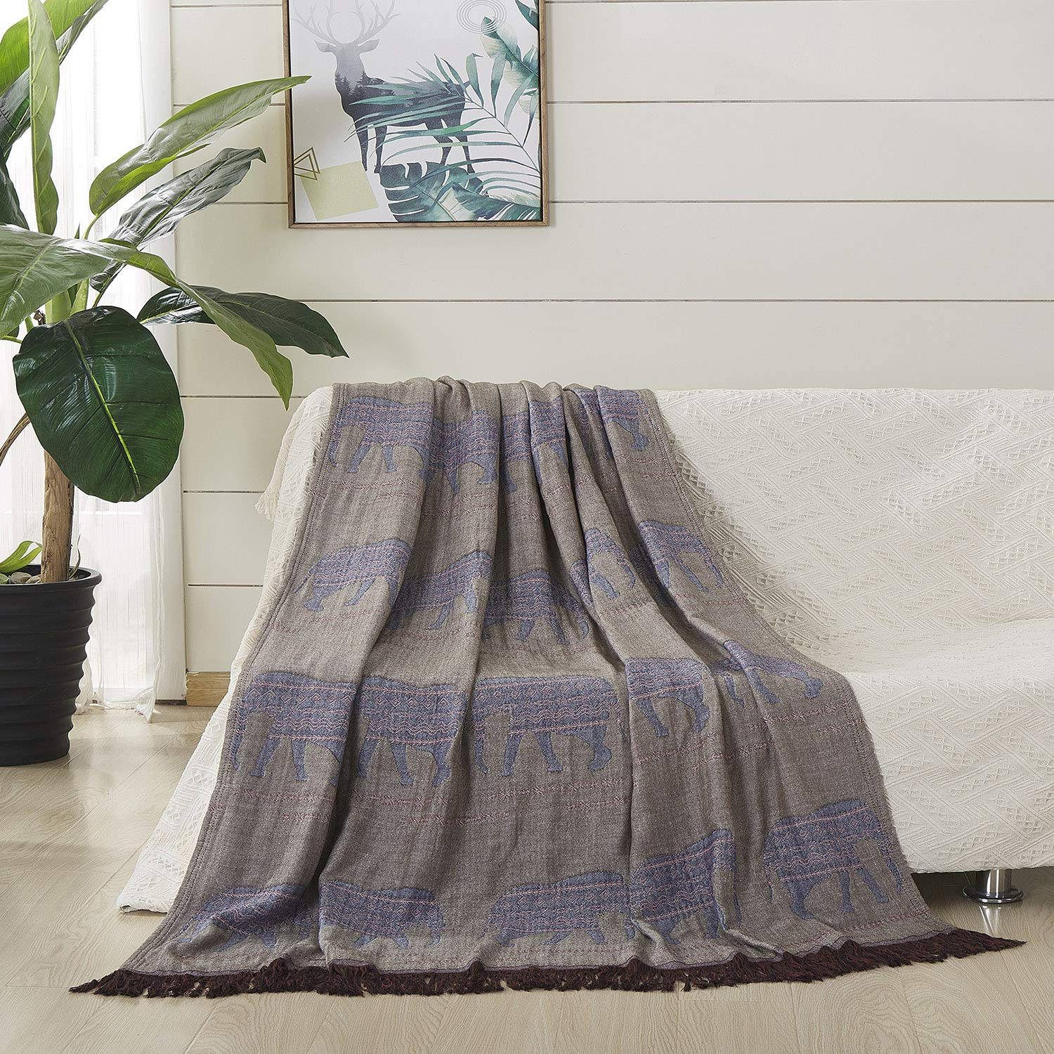 """JML Throw Blanket Soft Lightweight Jacquard Organic Bamboo Cotton Throw Blanket with Tassels Shawl and Wrap Couch Blanket and Throw for Lap Bed Sofa Chair Travel Summer Adult,50"""" X 60""""-Elephant Brown"""