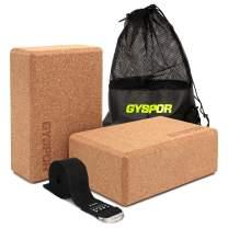 "GYSPOR Yoga Blocks 2 Pack Set 9""x6""x3"" with Yoga Strap and Sports Bag, Non-Slip Surface High Density EVA Foam Yoga Block for Pilates, Meditation, Exercise"