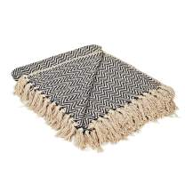 MOTINI 100% Cotton Hand-Woven Throw Blanket Soft Boho Herringone Throw Blanket Dark Blue and Beige Cozy Blanket with Fringe for Couch, Sofa, Chair, 50x60 Inches