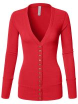 Luna Flower Women's V-Neck Snap Button Long Sleeve Soft Basic Knit Snap Cardigan Sweater