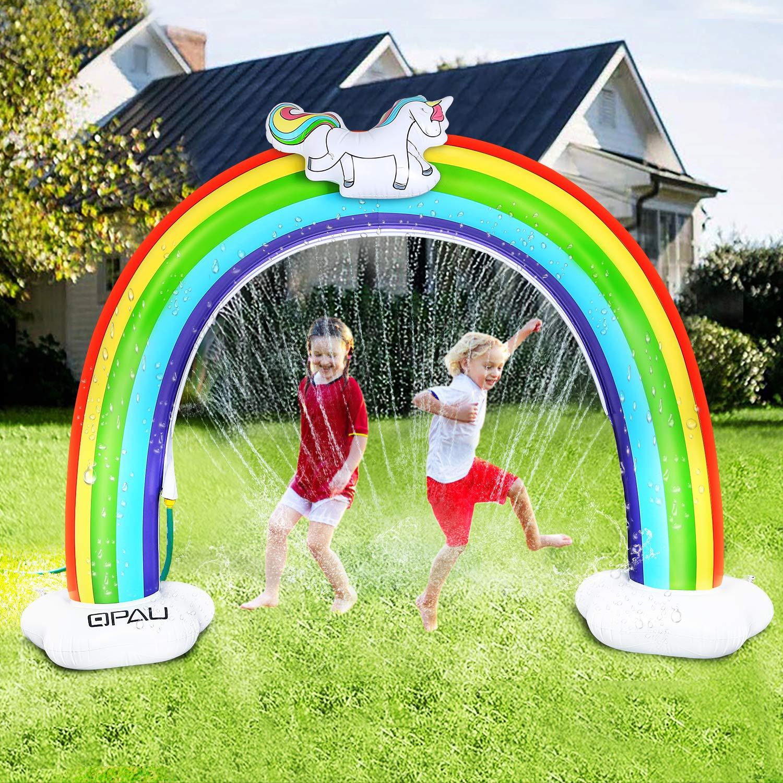 QPAU Rainbow Sprinkler for Kids , Outdoor Water Sprinkler Toys for Kids Toddlers Splash Pad