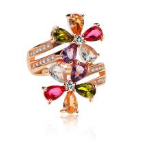 Uloveido Women's Multicolor Pear Cut Created Tourmaline Rings Rose Gold Plated Flower October Birthstone Adjustable Rings Birthday Gifts Ideas RJ134