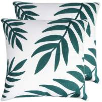 Zwish 2 Pack Embroidered Throw Pillow Cover Home Decorative Sofa Pillow Case for Living Room Cushion Covers Hidden Zipper 18 x 18 Inch Bamboo Leaf