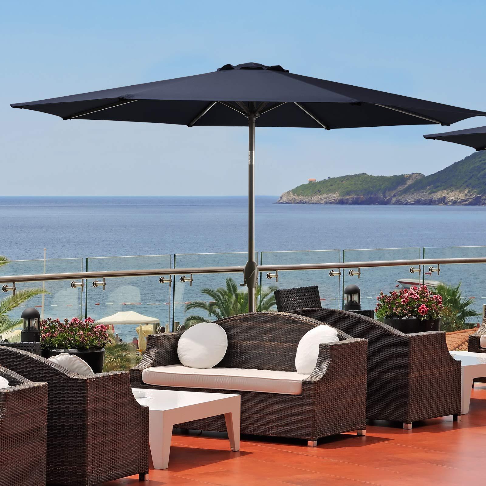 Bumblr 9ft Patio Umbrella Outdoor Market Table Umbrella with Push Button Tilt/Crank & 8 Sturdy Ribs Sun Umbrella for Garden Lawn Deck Backyard Pool, Navy New2