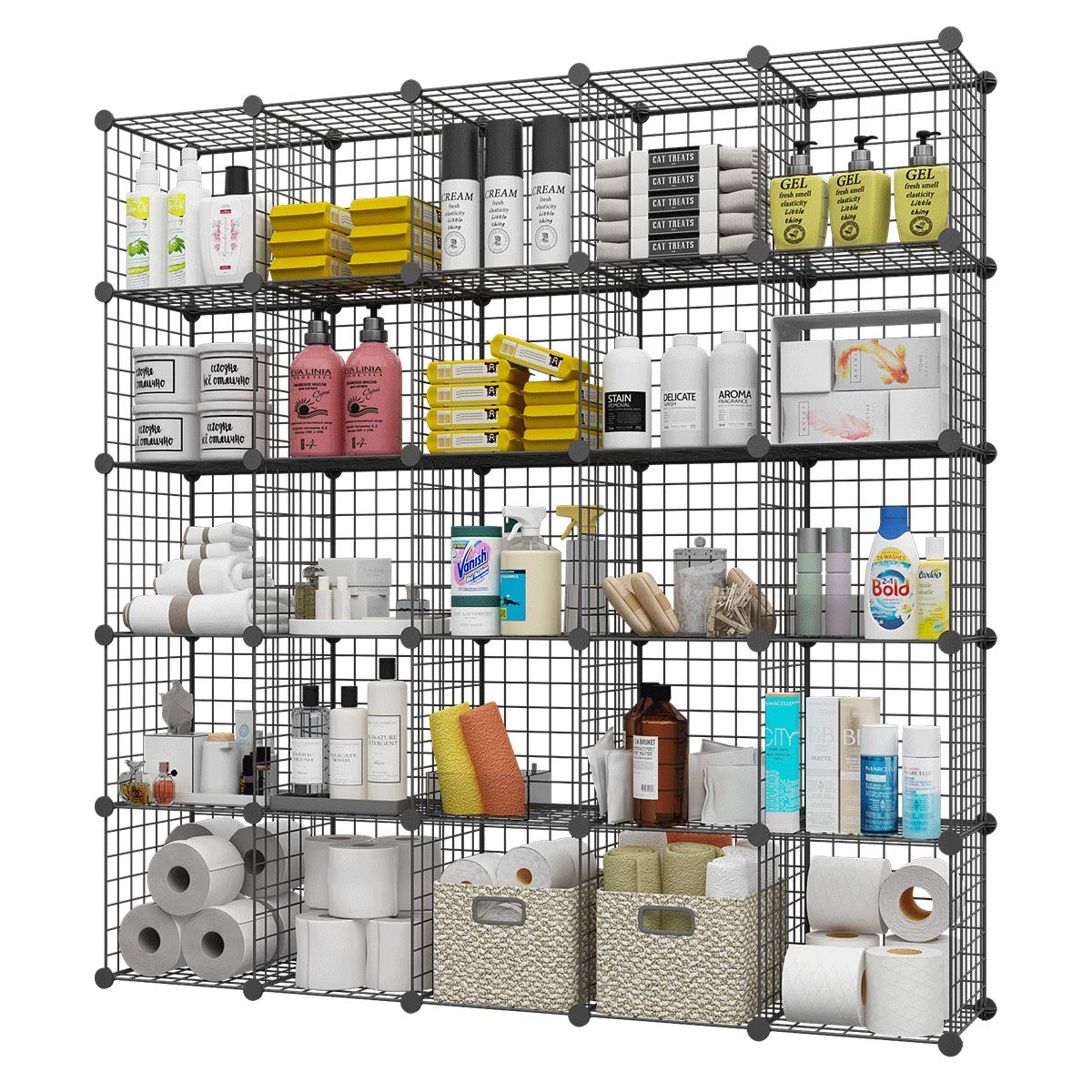 """KOUSI 14""""x14"""" Storage Cubes Wire Grid Modular Metal Cubbies Organizer Bookcases and Book Shelves Origami Multifunction Shelving Unit"""