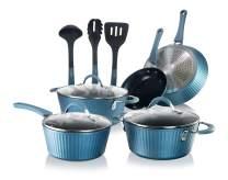 NutriChef Nonstick Cookware Excilon Home Kitchen Ware Pots & Pan Set with Saucepan, Frying Pans, Cooking Pots, Lids, Utensil PTFE/PFOA/PFOS free, 11 Pcs, Blue