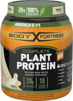Body Fortress Vegan Plant Based Hemp and Pea Protein Powder, Gluten Free, Vanilla, With Vitamin D and Zinc to Support Immune Health, 1.51 lbs