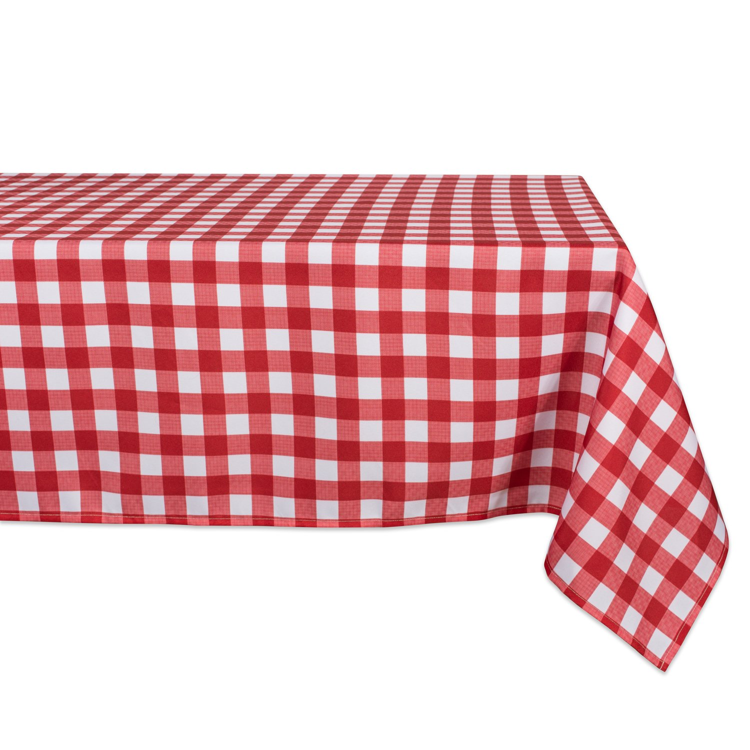 DII 100% Polyester, Spill Proof, Machine Washable, Tablecloth for Outdoor Use, 60x120 Round, Red Check, Seats 10 to 12 People