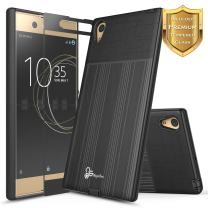 NageBee Xperia XA1 Ultra Case with [Full Cover Tempered Glass Screen Protector], [Brushed] Heavy Duty Defender Dual Layer Protector Case for Sony Xperia XA1 Ultra (Black)
