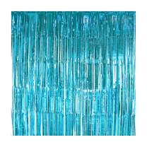 UTOPP 2 Pack Blue Foil Fringe Curtains Photo Backdrop, 3 ft x 8 ft Shiny Metallic Tinsel Party Door Curtain photo booth props for Birthday Wedding Bridal Baby Shower Festival Party Decorations