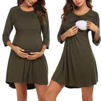 Ekouaer Women's Maternity Dress Nursing Nightgown for Breastfeeding Nightshirt Sleepwear S-XXL