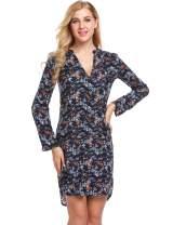 UNibelle Women Long Sleeve Floral A-Line Knee Length Casual T Shirt Dress S-XXL