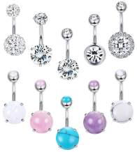 Jstyle 10Pcs 14G Stainless Steel Belly Button Rings for Women Girls Navel Rings Barbell Marble Stone Mermaid CZ Body Piercing Jewelry