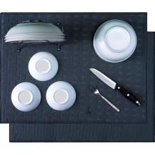 KDIJET Dish Drying Mat 2 Pack XL Black Cross Sculpted Microfiber Ultra Absorbent Kitchen Drying Mat