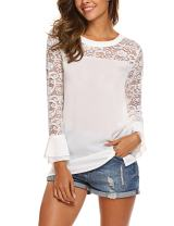 SoTeer Lace Top Women's 3/4 Ruffle Bell Sleeve Blouse Boatneck Chiffon Tops S-XXL