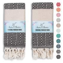 RUMI & SHAMS Turkish Hand Towels for Bathroom | 100% Cotton Farmhouse Hand Towels | 2 Pcs Decorative Towels for Bathroom | 16 x 35 Inches Turkish Towels | Ideal for Boho Kitchen Decor (Black)