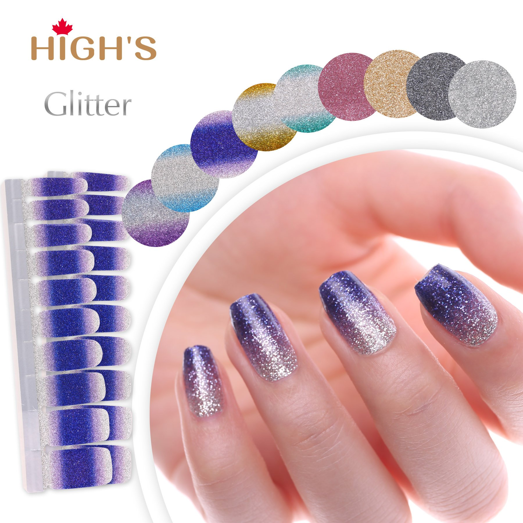 HIGH'S EXTRE ADHESION 20pcs Nail Art Transfer Decals Sticker Glitter Series The Cocktail Collection Manicure DIY Nail Polish Strips Wraps for Wedding,Party,Shopping,Travelling (Purple Rain)
