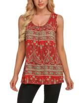 Zeagoo Women's Floral Print Loose Casual Flowy Tunic Tank Top