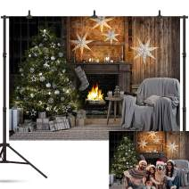 Whaline 7x5ft Christmas Photography Backdrop Xmas Christmas Tree Rustic Vintage House Wall Background for Photo Studio BoothPhoto Photographer Props Christmas Party Decorations Supplies