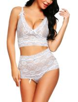 Avidlove Womens 2 Pieces Lingerie Set Babydoll High Waisted Panty Thong for Honeymoon