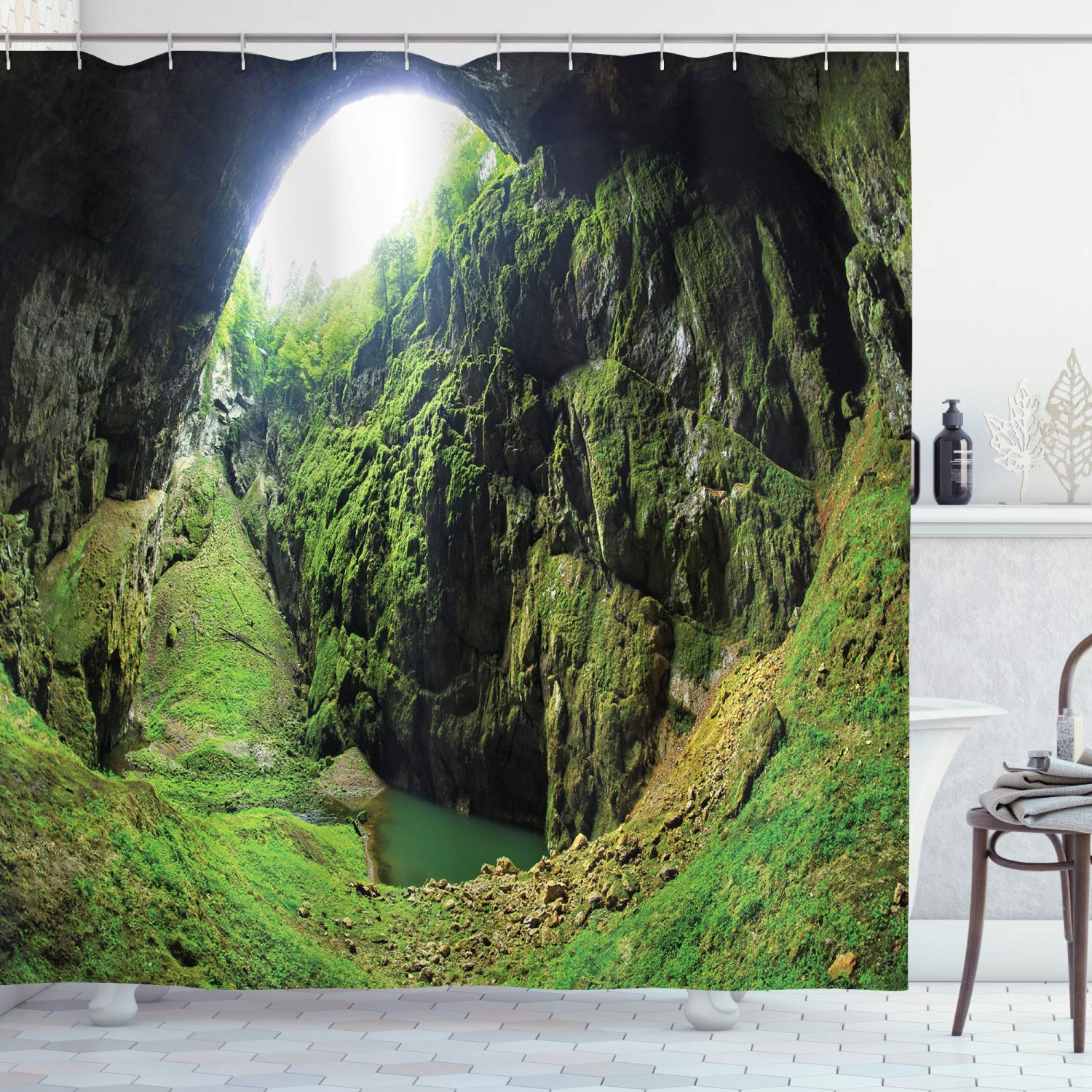 """Ambesonne Natural Cave Shower Curtain, Punkevni Cave in Czech Republic European Geological Formation Myst Hole Landscape, Cloth Fabric Bathroom Decor Set with Hooks, 84"""" Long Extra, Green"""
