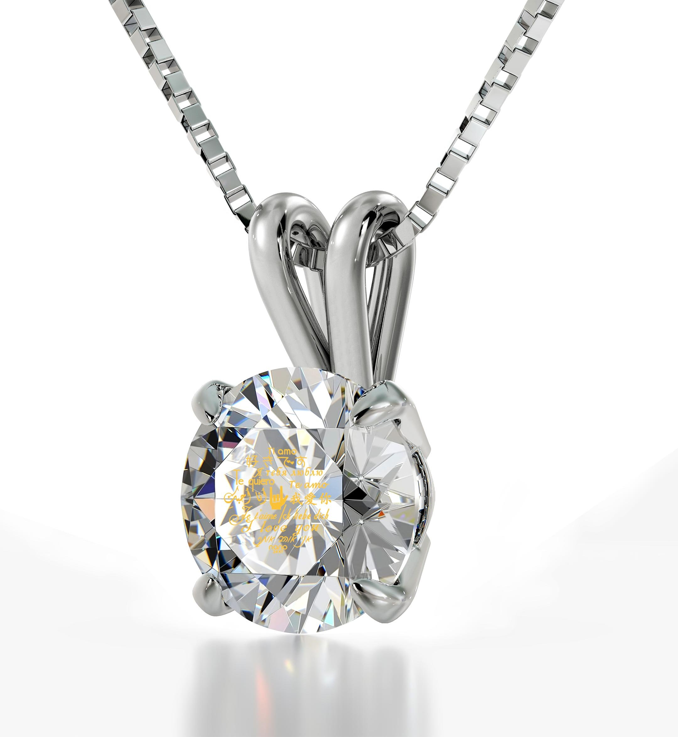 """Nano Jewelry 925 Sterling Silver I Love You Necklace in 12 Languages Inscribed in 24k Gold Including Sign Language in Miniature Text onto a Round Crystal Solitaire Pendant, 18"""" Box Chain"""