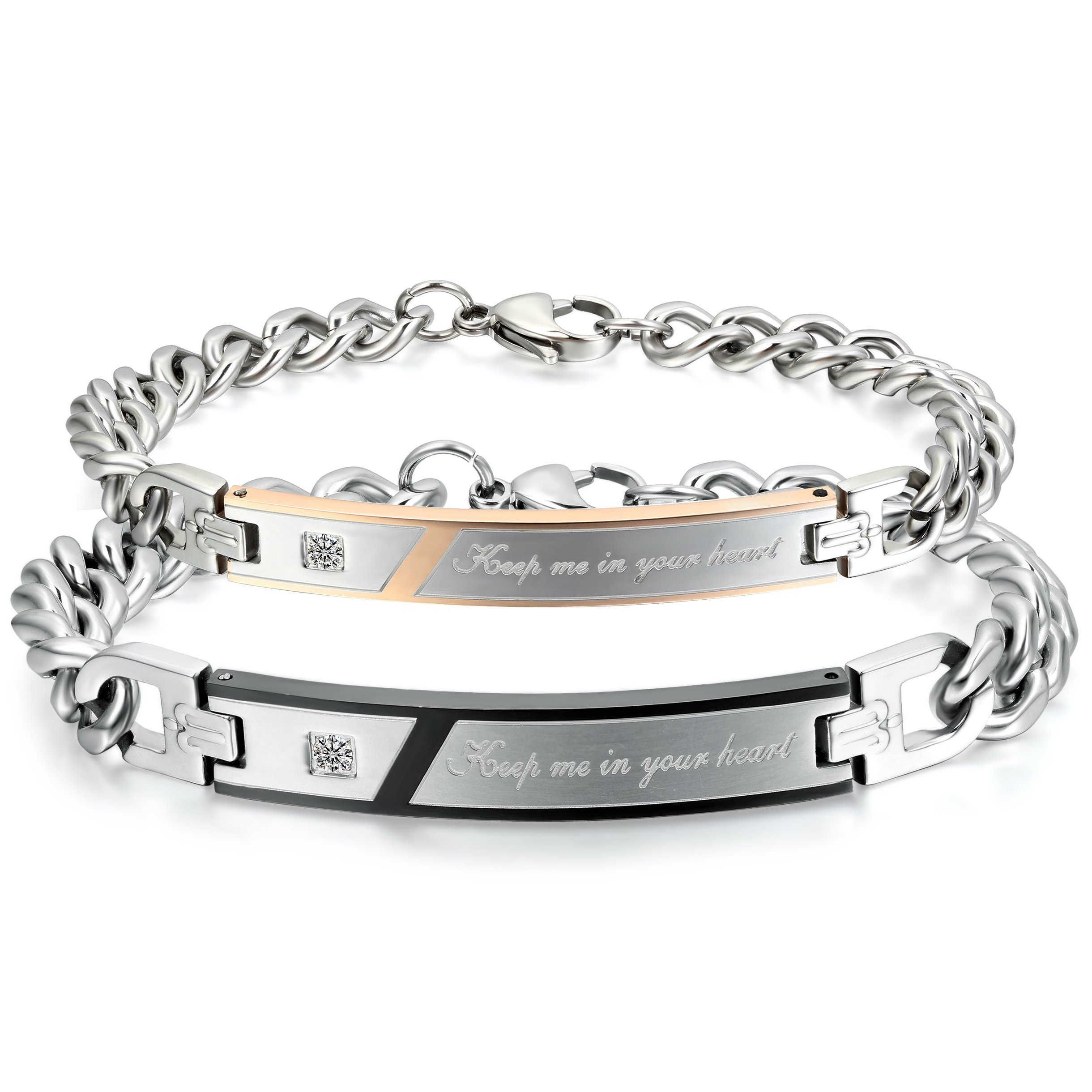 OIDEA 2pcs Stainless Steel Cubic Zirconia His Queen Her King Bracelets,Romantic Keep Me in Your Heart,CZ Love Charm Bangle Braclets for Valentines Gifts