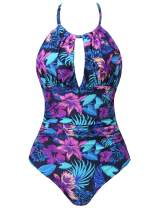 Joyaria Womens Front Ruched One Piece Swimsuit Tummy Control Slimming Bathing Suit