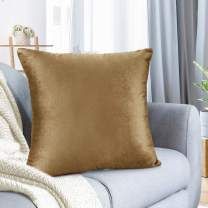 "Nestl Bedding Throw Pillow Cover 22"" x 22"" Soft Square Decorative Throw Pillow Covers Cozy Velvet Cushion Case for Sofa Couch Bedroom - Mocha Light Brown"