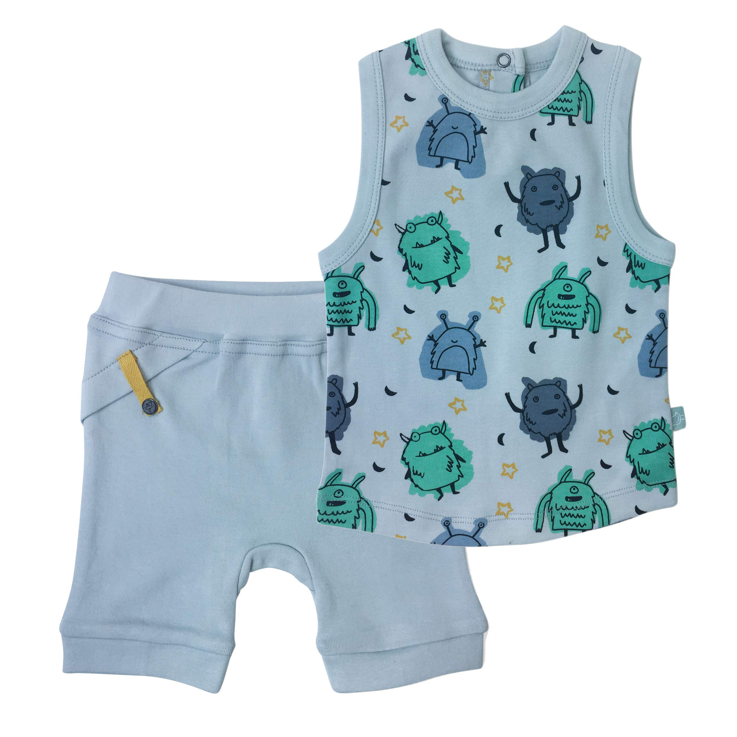 Finn + Emma Organic Cotton Baby Tank Top T-Shirt and Pull-Up Shorts Set – Monsters, 0-3 Months