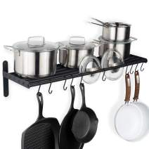 Wallniture Lyon Kitchen Organization Wall Shelf for Pots and Pans Set and with 10 S Hooks for Hanging, Metal, Frosty Black