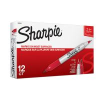 Sharpie 32002 Twin Tip Fine Point and Ultra Fine Point Permanent Marker, Red, 12-Pack