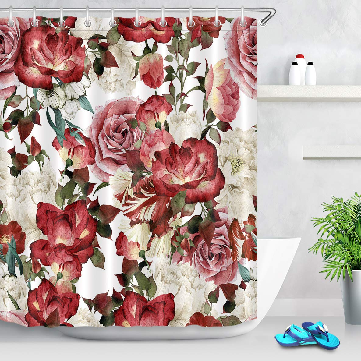 Lb Vintage Floral Shower Curtain With Hooks Peony Rose Flower Blossom Bathroom Curtain Red Pink White 60x72 Inch Waterproof Polyester Fabric Bathroom Accessories