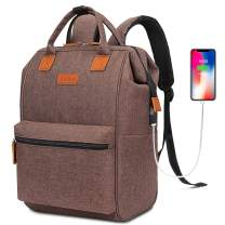 BRINCH Laptop Backpack 15.6 Inch Wide Open Computer Laptop Bag College Rucksack Water Resistant Business Travel Backpack Multipurpose Casual Daypack with USB Charging Port for Women Men,Brown