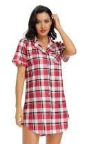 N NORA TWIPS Womens Nightshirt Short Sleeves Pajama Boyfriend Shirt Dress Nightie Sleepwear PJ