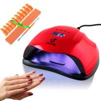 LuxeUp UV Nail Lamp Dryer 54W Upgraded Design | LED Curing Light Nail Art Lamp | Professional Dry Nail Lamp Set for Acrylic & Gel Polish (Red)