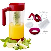 Glass Water Infusion Pitcher | BPA Free Fruit Infuser | Highest Quality Borosilcate for Hot and Cold Liquids | Infuse Iced Tea, Coffee, Water, Juice, Vodka, Tequila - Cestari Infuser, Red 44 ounces