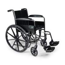 "Everest & Jennings Traveler SE Wheelchair, Fixed Full Arms & Swingaway Footrests, 18x16"" Seat, Silvervein Color"