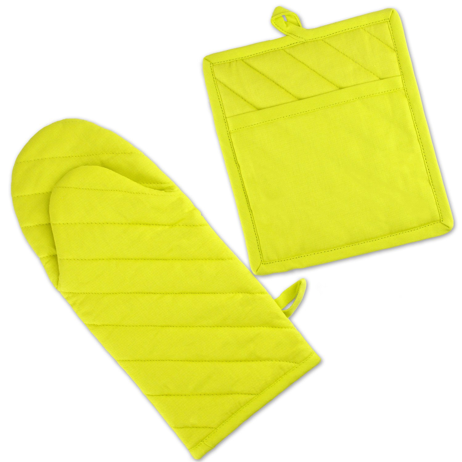 """DII Cotton Neon Oven Mitt 13 x 6"""" and Pot Holder 8 x 9"""" Kitchen Gift Set, Machine Washable and Heat Resistant for Everyday Kitchen Cooking and Baking-Neon Yellow"""