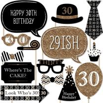 Big Dot of Happiness Adult 30th Birthday - Gold - Birthday Party Photo Booth Props Kit - 20 Count