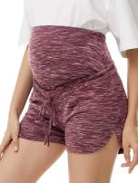 Glampunch Women's Maternity Shorts Leisure Sports Pregnancy Casual Shorts Tie Front Curved Hem Shorts