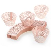 Lace Cupcake Wrappers, Laser Cut (Pink, 100 Pack)