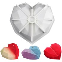 FUNSHOWCASE Diamond Heart Shape Silicone Mold Tray Cavity Size 7.3x7x2inch