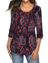 Bebonnie Womens 3/4 Sleeve Casual Floral Pleated Button Down Blouse Top Shirts