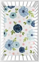 Sweet Jojo Designs Navy Blue and Pink Watercolor Floral Girl Fitted Mini Crib Sheet Baby Nursery for Portable Crib or Pack and Play - Blush, Green and White Shabby Chic Rose Flower