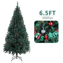 SNAN Christmas Pine Tree, Artificial Premium Xmas Tree, Solid Metal Stand, Lush Pine Needle & Hanging Ornament, Festival Holiday Decoration for Home, Office, Indoor, Outdoor (6.5FT)