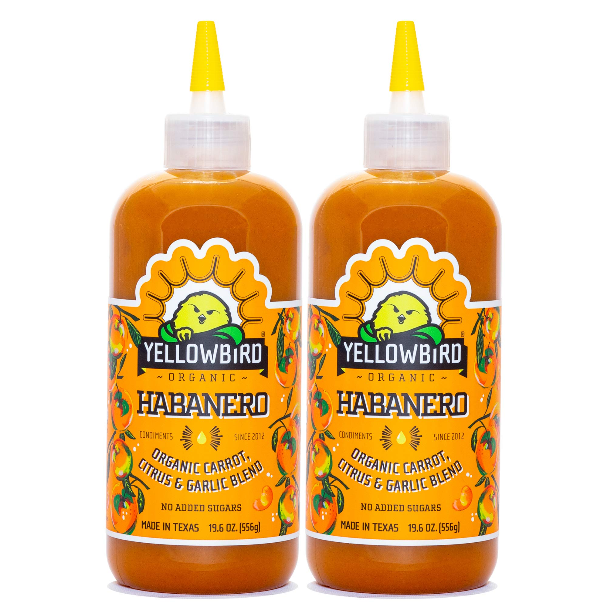 Organic Habanero Hot Sauce by Yellowbird Foods, All Natural, Non-GMO, 19.6 oz bottle, 2-Pack