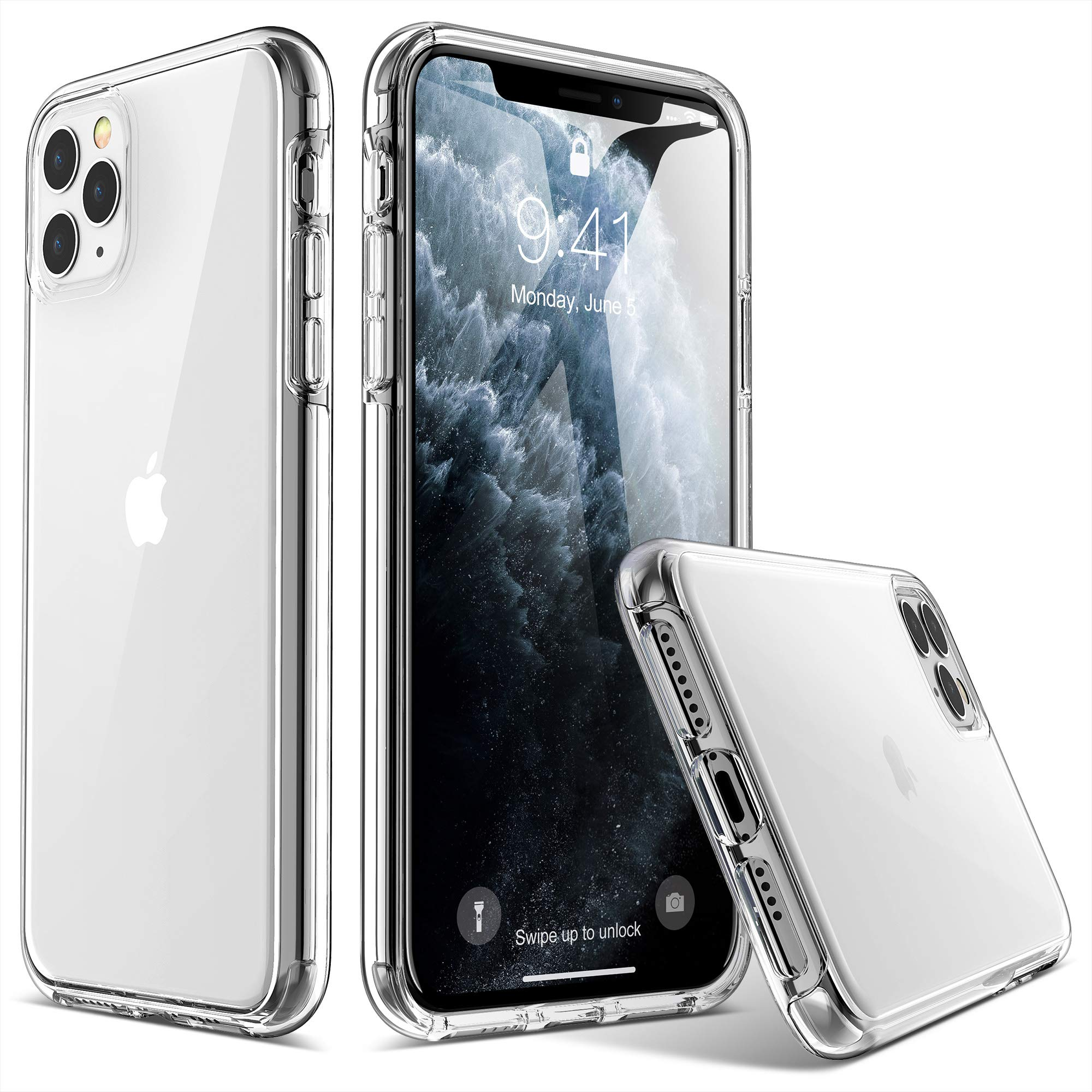 ULAK iPhone 11 Pro Max Case, Ultra Clear Hybrid Protective Case Slim Fit Transparent Anti-Scratch Shock Absorption Cover Designed Phone Case for iPhone Pro Max 6.5 ''(2019), HD Clear