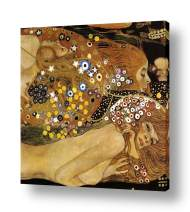 "Alonline Art - Water Serpents Snakes by Gustav Klimt | framed stretched canvas (Synthetic) on a ready to hang frame - gallery wrapped | 16""x16"" - 41x41cm 
