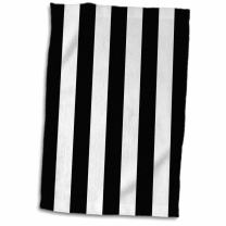 """3D Rose Black and White Pattern-Vertical Stripy Stripey Stripe Retro Traditional Classic Towel, 15"""" x 22"""", Multicolor"""